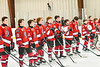 Baldwinsville Bees players standing for the National Anthem before playing the Liverpool Warriors in a NYSPHSAA Section III Boys Ice hockey game at Lysander Ice Arena in Baldwinsville, New York on Tuesday, December 10, 2019.