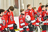 Baldwinsville Bees players Reese Gilmore (14) and Christian Ficarra (17) standing for the National Anthem before playing the Liverpool Warriors in a NYSPHSAA Section III Boys Ice hockey game at Lysander Ice Arena in Baldwinsville, New York on Tuesday, December 10, 2019.