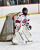 Baldwinsville Bees Goalie #1 warming up before playing the Whitesboro Warriors in a NYSPHSAA Section III Boys Ice Hockey game at the Lysander Ice Arena in Baldwinsville, New York on Friday, December 13, 2019.