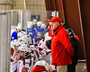 Baldwinsville Bees Head Coach Mark Lloyd on the bench for a NYSPHSAA Section III Boys Ice Hockey game at the Lysander Ice Arena in Baldwinsville, New York on Friday, December 13, 2019.