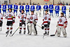 Baldwinsville Bees standing for the National Anthem before playing the Whitesboro Warriors in a NYSPHSAA Section III Boys Ice Hockey game at the Lysander Ice Arena in Baldwinsville, New York on Friday, December 13, 2019.