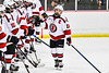 Baldwinsville Bees Matt Speelman (18) being introduced before playing the Whitesboro Warriors in a NYSPHSAA Section III Boys Ice Hockey game at the Lysander Ice Arena in Baldwinsville, New York on Friday, December 13, 2019.