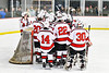 Baldwinsville Bees huddle up before playing the Whitesboro Warriors in a NYSPHSAA Section III Boys Ice Hockey game at the Lysander Ice Arena in Baldwinsville, New York on Friday, December 13, 2019.