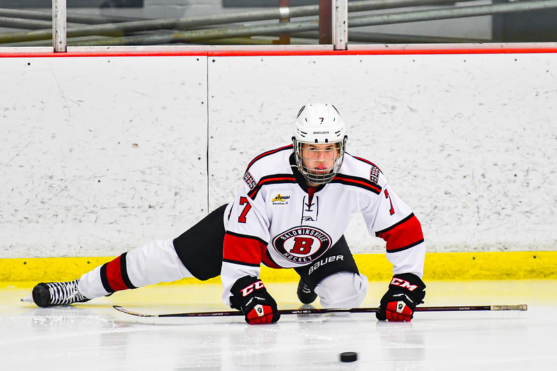 Baldwinsville Bees Zach Treichler (7) warming up before playing the Whitesboro Warriors in a NYSPHSAA Section III Boys Ice Hockey game at the Lysander Ice Arena in Baldwinsville, New York on Friday, December 13, 2019.