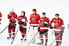 Baldwinsville Bees players stand for the National Anthem before playing the Christian Brothers Academy in a NYSPHSAA Section III Boys Ice hockey game at Onondaga Nation Arena in Nedrow, New York on Tuesday, January 7, 2020.