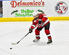 Baldwinsville Bees Reese Gilmore (14) during warm ups before playing the Christian Brothers Academy in a NYSPHSAA Section III Boys Ice hockey game at Onondaga Nation Arena in Nedrow, New York on Tuesday, January 7, 2020.