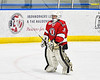 Baldwinsville Bees goalie Brad O'Neil (30) being introduced before playing the Christian Brothers Academy in a NYSPHSAA Section III Boys Ice hockey game at Onondaga Nation Arena in Nedrow, New York on Tuesday, January 7, 2020.