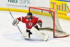 Baldwinsville Bees goalie Jon Schirmer (1) during warm ups before playing the Christian Brothers Academy in a NYSPHSAA Section III Boys Ice hockey game at Onondaga Nation Arena in Nedrow, New York on Tuesday, January 7, 2020.