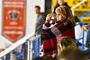 Baldwinsville Bees parent of goalie Brad O'Neil (30) in the stands for a NYSPHSAA Section III Boys Ice hockey game at Onondaga Nation Arena in Nedrow, New York on Tuesday, January 7, 2020.