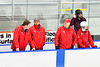 Baldwinsville Bees Assistant Coach Glenn McCaffrey, Assistant Coach James Muscatello and Head Coach Mark Lloyd on the bench before the game against the Christian Brothers Academy at Onondaga Nation Arena in Nedrow, New York on Tuesday, January 7, 2020.
