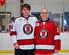 Baldwinsville Bees Luke Hoskin (16) honors Mr. Pluff on Teacher Appreciation Night at the Lysander Ice Arena in Baldwinsville, New York on Tuesday, January 14, 2020.