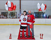 Baldwinsville Bees Tyler Derito (27) honors Mr. Malecki on Teacher Appreciation Night at the Lysander Ice Arena in Baldwinsville, New York on Tuesday, January 14, 2020.