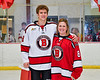 Baldwinsville Bees Cooper Foote (8) honors Mrs. Witte on Teacher Appreciation Night at the Lysander Ice Arena in Baldwinsville, New York on Tuesday, January 14, 2020.