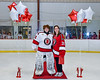 Baldwinsville Bees goalie Liam Hughes (31) honors Mrs. Ristay on Teacher Appreciation Night at the Lysander Ice Arena in Baldwinsville, New York on Tuesday, January 14, 2020.