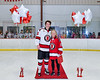 Baldwinsville Bees Zach Cole (15) honors Mrs. Sweeney on Teacher Appreciation Night at the Lysander Ice Arena in Baldwinsville, New York on Tuesday, January 14, 2020.