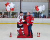 Baldwinsville Bees Colin Bourque (3) honors Mr. McGiveny on Teacher Appreciation Night at the Lysander Ice Arena in Baldwinsville, New York on Tuesday, January 14, 2020.
