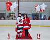 Baldwinsville Bees Reese Gilmore (14) honors Mrs. Buda on Teacher Appreciation Night at the Lysander Ice Arena in Baldwinsville, New York on Tuesday, January 14, 2020.