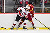 Baldwinsville Bees Christian Ficarra (17) battles for the puck with Ithaca Little Red Keven Morse (18) in NYSPHSAA Section III Boys Ice Hockey action at the Lysander Ice Arena in Baldwinsville, New York on Tuesday, January 14, 2020. Ithaca won 3-2.