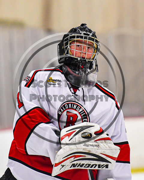Baldwinsville Bees goalie Jon Schirmer (1) after playing the Ithaca Little Red in a NYSPHSAA Section III Boys Ice Hockey game at the Lysander Ice Arena in Baldwinsville, New York on Tuesday, January 14, 2020. Ithaca won 3-2.