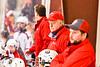 Baldwinsville Bees Head Coach Mark Lloyd on the bench against the Ithaca Little Red in NYSPHSAA Section III Boys Ice Hockey action at the Lysander Ice Arena in Baldwinsville, New York on Tuesday, January 14, 2020. Ithaca won 3-2.