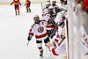 Baldwinsville Bees Matt Speelman (18) celebrates his goal against the Ithaca Little Red in NYSPHSAA Section III Boys Ice Hockey action at the Lysander Ice Arena in Baldwinsville, New York on Tuesday, January 14, 2020. Ithaca won 3-2.
