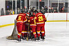 Ithaca Little Red huddle up before the Second Period against the Baldwinsville Bees in NYSPHSAA Section III Boys Ice Hockey action at the Lysander Ice Arena in Baldwinsville, New York on Tuesday, January 14, 2020. Ithaca won 3-2.