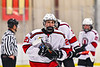 Baldwinsville Bees Brett Collier (21) after playing the Ithaca Little Red in a NYSPHSAA Section III Boys Ice Hockey game at the Lysander Ice Arena in Baldwinsville, New York on Tuesday, January 14, 2020. Ithaca won 3-2.