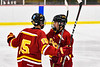 Ithaca Little Red Thomas Kopelson (15) congratulates Colden Goodrow (16) on his goal against the Baldwinsville Bees in NYSPHSAA Section III Boys Ice Hockey action at the Lysander Ice Arena in Baldwinsville, New York on Tuesday, January 14, 2020. Ithaca won 3-2.