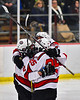 Baldwinsville Bees congratulate Cooper Foote (8) for his goal against the Cicero-North Syracuse Northstars in NYSPHSAA Section III Boys Ice Hockey action at the Lysander Ice Arena in Baldwinsville, New York on Tuesday, January 21, 2020. Baldwinsville won 7-0.