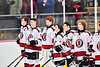Baldwinsville Bees players during the National Anthem before a NYSPHSAA Section III Boys Ice Hockey game at the Lysander Ice Arena in Baldwinsville, New York on Tuesday, January 21, 2020.