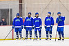 Cicero-North Syracuse Northstars starting lineup before playing the Baldwinsville Bees in a NYSPHSAA Section III Boys Ice Hockey game at the Lysander Ice Arena in Baldwinsville, New York on Tuesday, January 21, 2020.