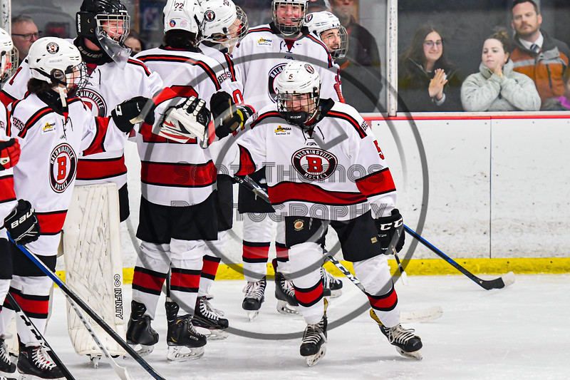 Baldwinsville Bees Alexander Pompo (5) being introduced before playing the Cicero-North Syracuse Northstars in a NYSPHSAA Section III Boys Ice Hockey game at the Lysander Ice Arena in Baldwinsville, New York on Tuesday, January 21, 2020.