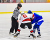 Baldwinsville Bees Alexander Pompo (5) and Cicero-North Syracuse Northstars Matthew Cramer (8) face-off to start the Third Period of a NYSPHSAA Section III Boys Ice Hockey game at the Lysander Ice Arena in Baldwinsville, New York on Tuesday, January 21, 2020. Baldwinsville won 7-0.