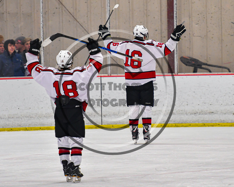 Baldwinsville Bees Luke Hoskin (16) celebrates his goal against the Cicero-North Syracuse Northstars in NYSPHSAA Section III Boys Ice Hockey action at the Lysander Ice Arena in Baldwinsville, New York on Tuesday, January 21, 2020. Baldwinsville won 7-0.