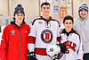 Baldwinsville Bees Alexander Pompo (5) after a NYSPHSAA Section III Boys Ice Hockey game at the Lysander Ice Arena in Baldwinsville, New York on Tuesday, January 21, 2020.