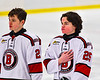 Baldwinsville Bees Brayden Penafeather-Stevenson (25) during the National Anthem before a NYSPHSAA Section III Boys Ice Hockey game at the Lysander Ice Arena in Baldwinsville, New York on Tuesday, January 21, 2020.