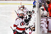 Baldwinsville Bees Matt Carner (9) celebrates his goal against the Cicero-North Syracuse Northstars in NYSPHSAA Section III Boys Ice Hockey action at the Lysander Ice Arena in Baldwinsville, New York on Tuesday, January 21, 2020. Baldwinsville won 7-0.