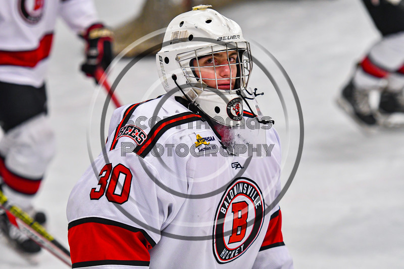 Baldwinsville Bees goalie Brad O'Neil (30) being introduced before playing the Cicero-North Syracuse Northstars in a NYSPHSAA Section III Boys Ice Hockey game at the Lysander Ice Arena in Baldwinsville, New York on Tuesday, January 21, 2020.