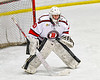 Baldwinsville Bees goalie Brad O'Neil (30) in net against the Cicero-North Syracuse Northstars in NYSPHSAA Section III Boys Ice Hockey action at the Lysander Ice Arena in Baldwinsville, New York on Tuesday, January 21, 2020. Baldwinsville won 7-0.