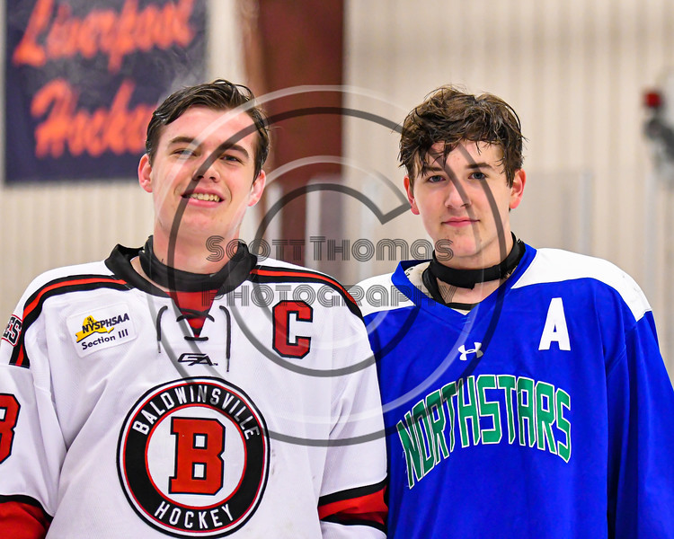 Baldwinsville Bees Braden Lynch (23) and Cicero-North Syracuse Northstars Holden Sarosy (2) after a NYSPHSAA Section III Boys Ice Hockey game at the Lysander Ice Arena in Baldwinsville, New York on Tuesday, January 21, 2020.