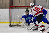 Baldwinsville Bees Luke Hoskin (16) shoots and scores against the Cicero-North Syracuse Northstars in NYSPHSAA Section III Boys Ice Hockey action at the Lysander Ice Arena in Baldwinsville, New York on Tuesday, January 21, 2020. Baldwinsville won 7-0.