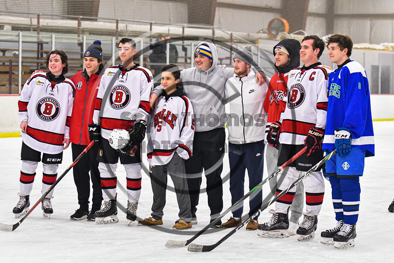 Baldwinsville Bees hosted the Cicero-North Syracuse Northstars in a NYSPHSAA Section III Boys Ice Hockey game at the Lysander Ice Arena in Baldwinsville, New York on Tuesday, January 21, 2020.