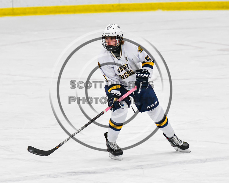 West Genesee Wildcats Jake Kopek (6) playing against the Syracuse Cougars in a NYSPHSAA Section III Boys Ice hockey game at Shove Park in Camillus, New York on Wednesday, January 22, 2020. Game ended in a 1-1 tie.