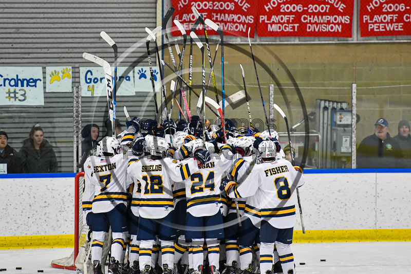 West Genesee Wildcats huddle up before playing the Syracuse Cougars in a NYSPHSAA Section III Boys Ice hockey game at Shove Park in Camillus, New York on Wednesday, January 22, 2020.