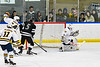 West Genesee Wildcats goalie David Myers (1) makes a save against they Syracuse Cougars in a NYSPHSAA Section III Boys Ice hockey game at Shove Park in Camillus, New York on Wednesday, January 22, 2020. Game ended in a 1-1 tie.