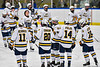 West Genesee Wildcats starting lineup being introduced before playing the Syracuse Cougars in a NYSPHSAA Section III Boys Ice hockey game at Shove Park in Camillus, New York on Wednesday, January 22, 2020.
