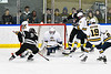 West Genesee Wildcats goalie Alex Moreno (1) makes a save against Syracuse Cougars Colin Johnson (9) in overtime of a NYSPHSAA Section III Boys Ice hockey game at Shove Park in Camillus, New York on Wednesday, January 22, 2020. Game ended in a 1-1 tie.