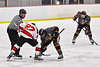 Baldwinsville Bees Tyler Derito (27) facing off against the Rome Free Academy Black Knights in NYSPHSAA Section III Boys Ice Hockey action at the Lysander Ice Arena in Baldwinsville, New York on Tuesday, January 28, 2020. Game ended up in a tie, 1-1.