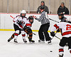 Baldwinsville Bees Keegan Lynch (2) wins a face-off against the Rome Free Academy Black Knights in NYSPHSAA Section III Boys Ice Hockey action at the Lysander Ice Arena in Baldwinsville, New York on Tuesday, January 28, 2020. Game ended up in a tie, 1-1.