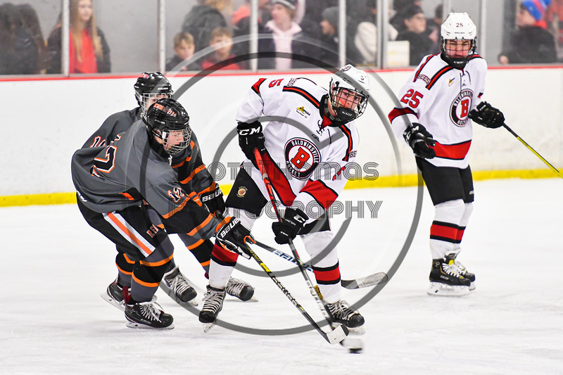 Baldwinsville Bees Alexander Pompo (5) battles for the puck with Rome Free Academy Black Knights Jake Premo (12) in NYSPHSAA Section III Boys Ice Hockey action at the Lysander Ice Arena in Baldwinsville, New York on Tuesday, January 28, 2020. Game ended up in a tie, 1-1.